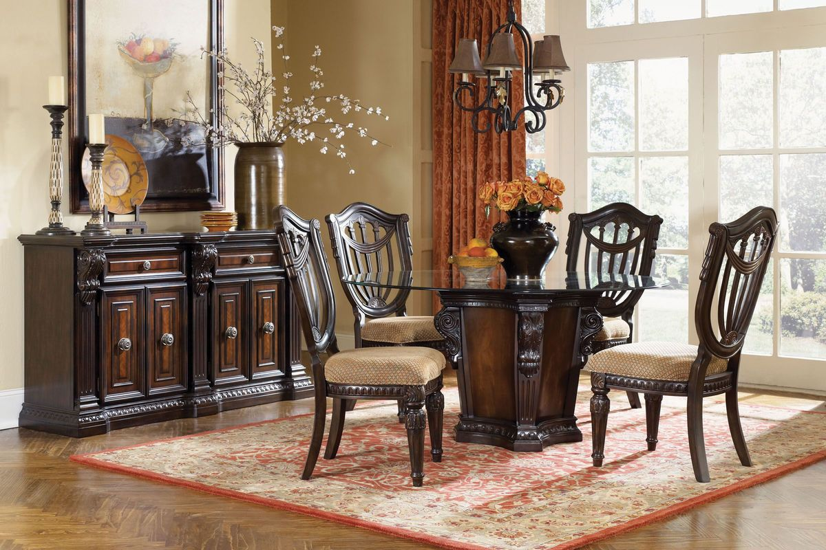 Valencia Carved Wood Traditional Bedroom Furniture Set 209000: Cabernet Round Pedestal Dining Room Collection